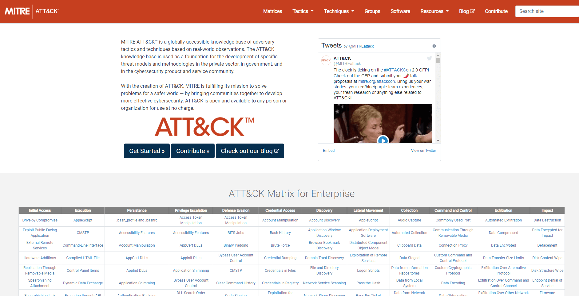Ukázka matice MITRE ATTA&CK