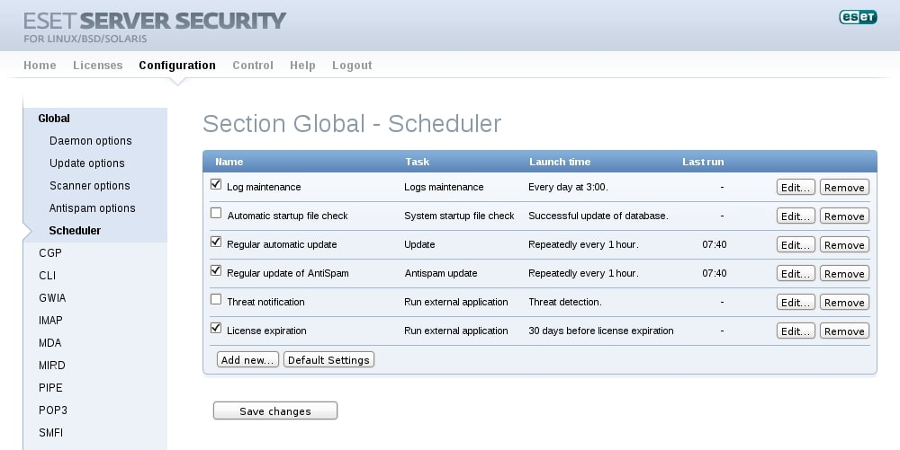 ESET Server Security for Linux/BSD/Solaris - Configuration - Scheduler