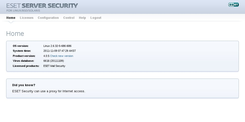 ESET Server Security for Linux/BSD/Solaris - Home
