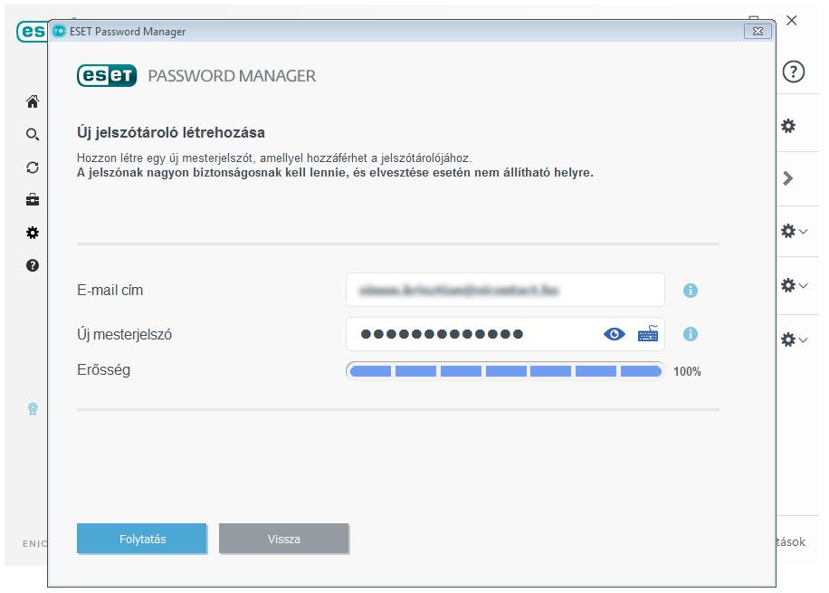 ESET Smart Security Premium - Password Manager: Új jelszótároló létrehozása