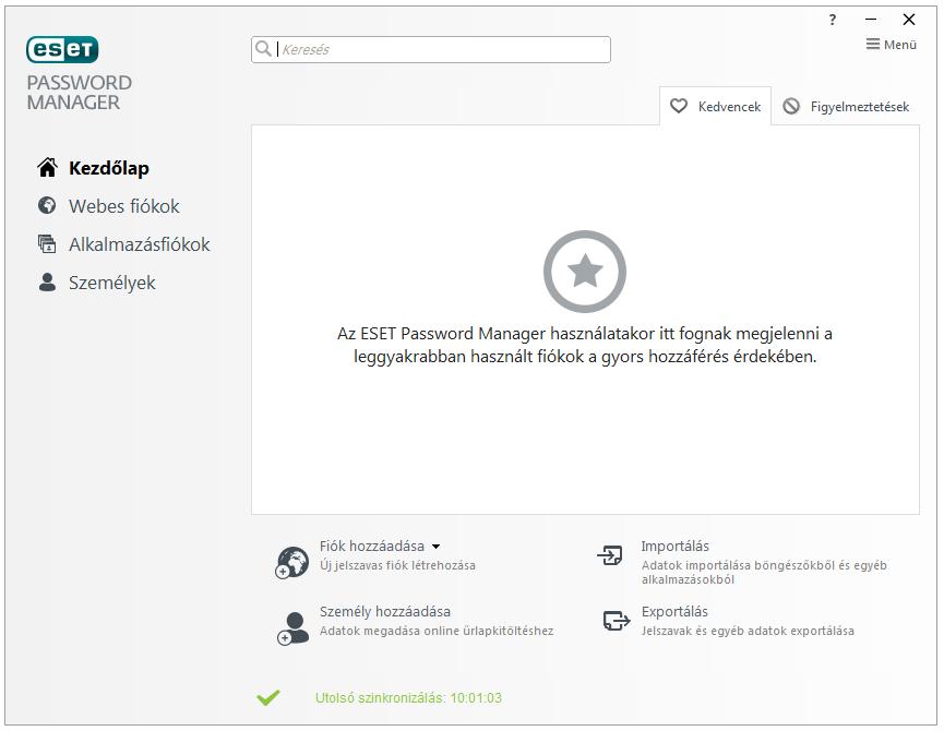 ESET Smart Security Premium - Password Manager: Kezdőlap