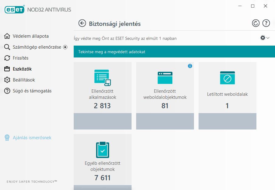 ESET NOD32 Antivirus - Biztonsági jelentés a megvédett adatokról