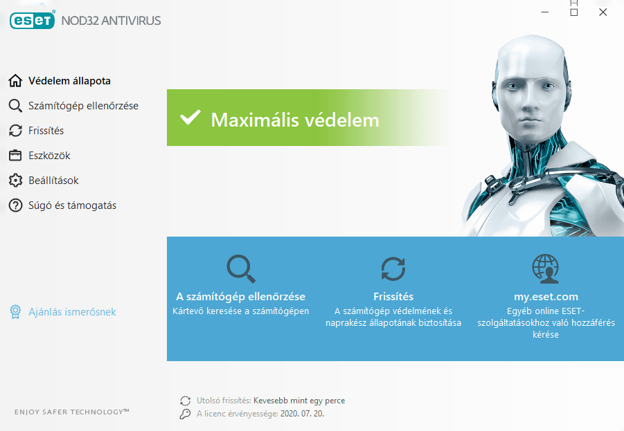 ESET NOD32 Antivirus főmenü