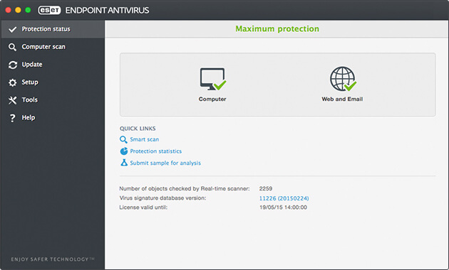 ESET Endpoint Antivirus for Mac - Protection Status
