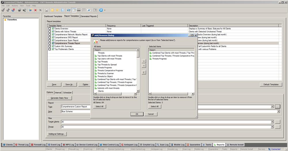 ESET Remote Administrator 5 - Reports/Add-Remove Dialog