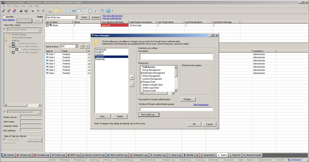 ESET Remote Administrator 5 - Tasks/User Manager