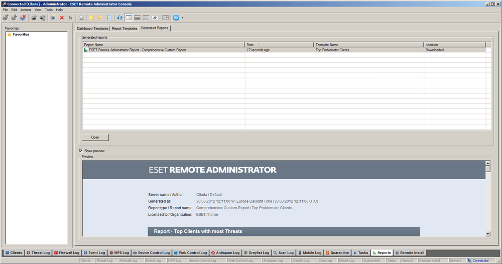 ESET Remote Administrator 5 - Reports/Generated Reports