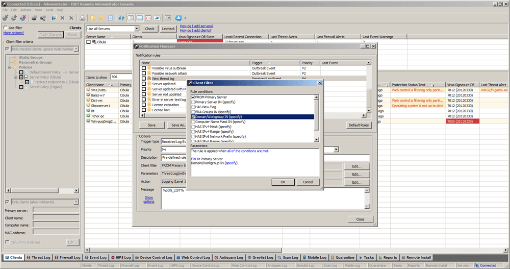 ESET Remote Administrator 5 - Clients/Client Filter