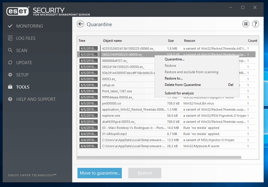 ESET Security for Microsoft Sharepoint Server - Tools/Quarantine