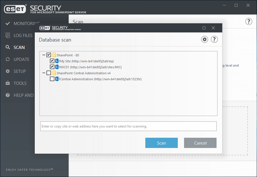 ESET Security for Microsoft Sharepoint Server - Scan/Database scan