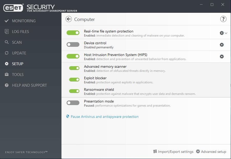 ESET Security for Microsoft Sharepoint Server - Setup/Computer