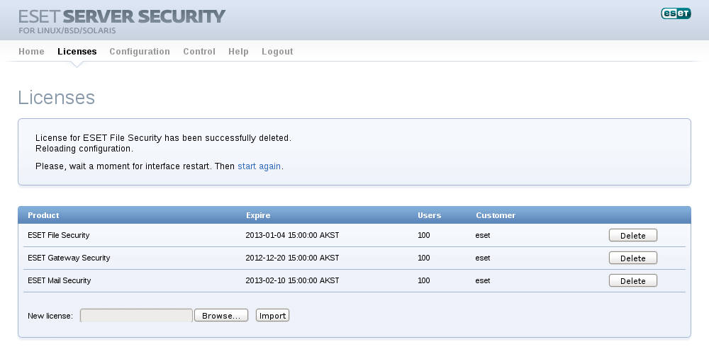 ESET Server Security for Linux/BSD/Solaris - Licenses