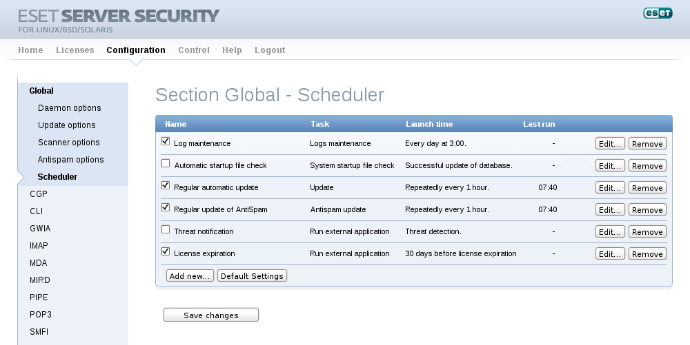 ESET Server Security for Linux/BSD/Solaris - Configuration/scheduler