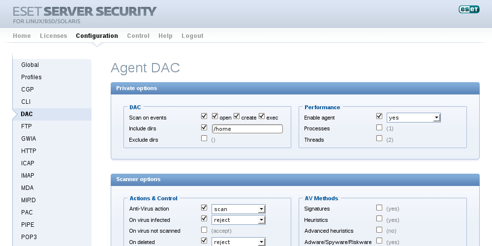 ESET Server Security for Linux/BSD/Solaris - Configuration/Agent DAC
