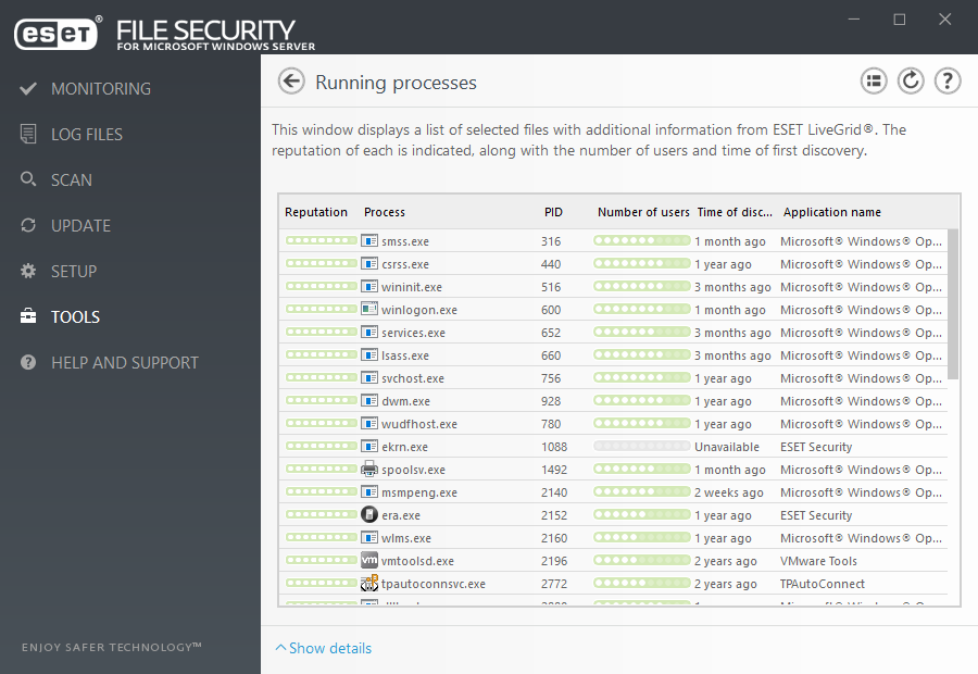 ESET File Security for Microsoft Windows Server - Tools/Running processes