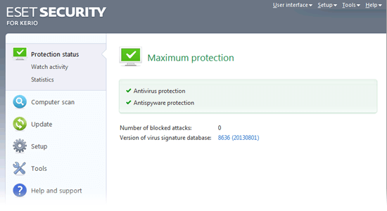 ESET Security for Kerio - Protection status