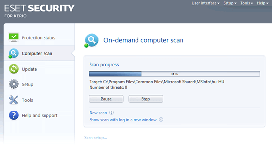 ESET Security for Kerio - On-demand computer scan
