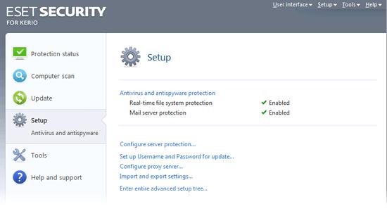 ESET Security for Kerio - Setup