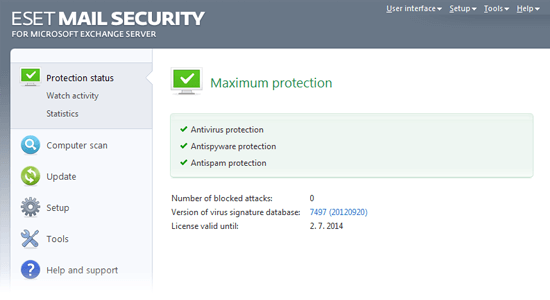 ESET Mail Security for Microsoft Exchange Server - Protection status/Maximum protection