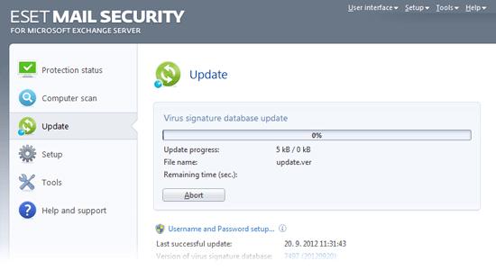 ESET Mail Security for Microsoft Exchange Server - Update/Virus signature database update