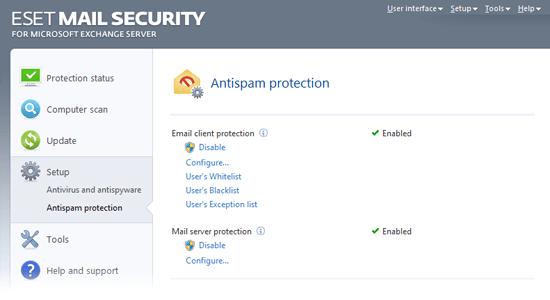 ESET Mail Security for Microsoft Exchange Server - Setup/Antispam protection