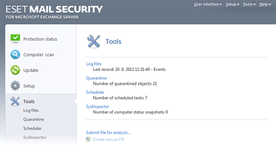 ESET Mail Security for Microsoft Exchange Server - Tools