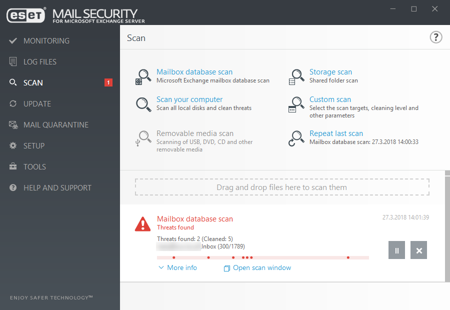 ESET Mail Security for Microsoft Exchange Server - Scan/Threats found