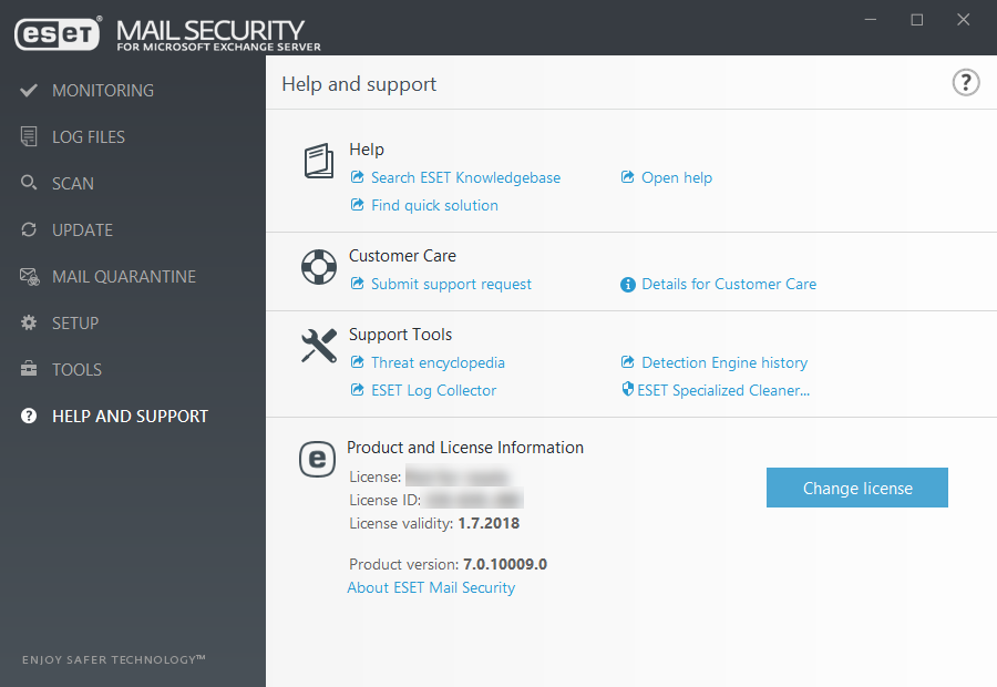 ESET Mail Security for Microsoft Exchange Server - Help and support