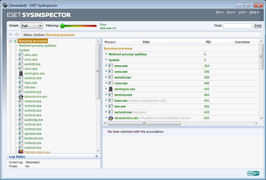 ESET SysInspector - futó folyamatok